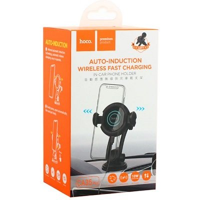 Держатель в автомобиль HOCO CA35 Plus Auto-Induction Wireless Fast Charger In-Car Holder (черный)